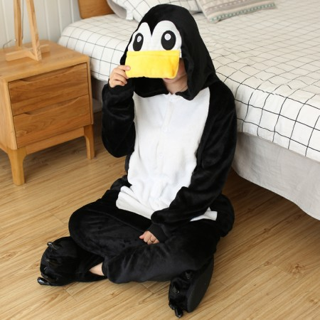 Penguin Onesie Costume Pajama for Adult Women & Men Outfit Suit