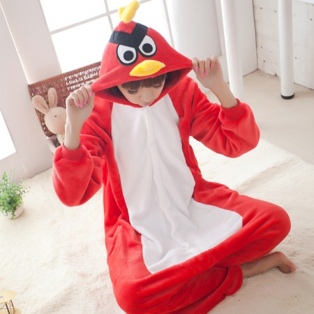 Red Bird Animal Adult Onesie Costume Pajama Halloween Outfit