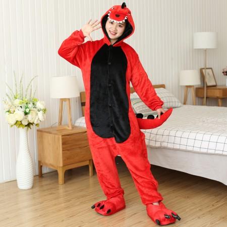 Red Dinosaur Onesie Costume Animal Pajama For Adult & Teens