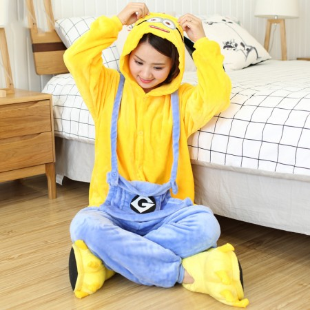 Cute Minions Costume Onesie Pajama Halloween Outfit for Adults & Teens