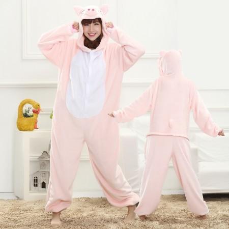 Pink Pig Onesie for Women & Men Costume Onesies Pajamas Halloween Outfit
