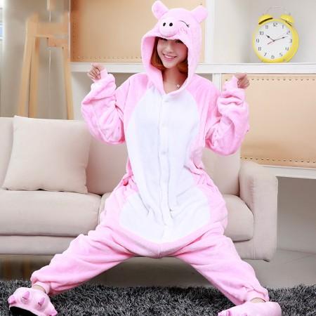 Pink Pig Onesie Costume Pajama For Adults & Teens Animal Onesies