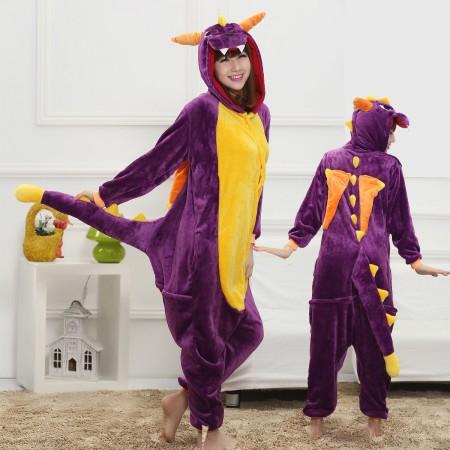 Purple Dragon Costume Onesie for Women & Men Pajamas Halloween Outfit