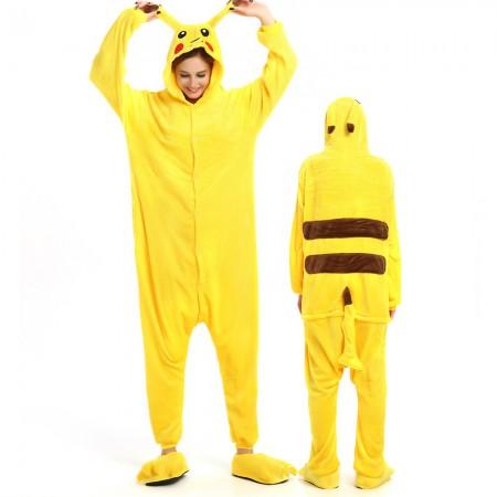 Pikachu Costume Onesie for Women & Men Pajamas Halloween Outfit