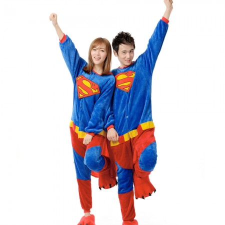 Superman Costume Onesie for Women & Men Pajamas Halloween Outfit