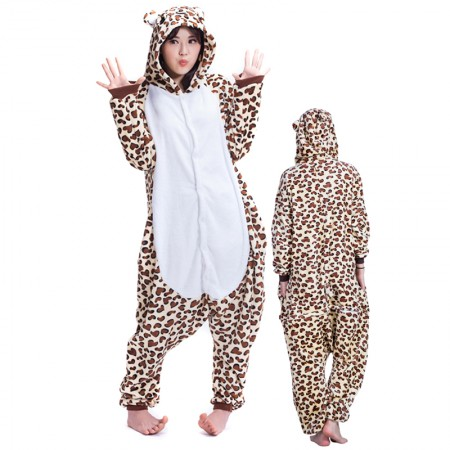 Leopard Bear Costume Onesie for Women & Men Pajamas Halloween Outfit