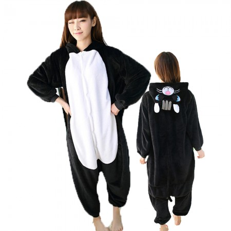 Black Cat Costume Onesie for Women & Men Pajamas Halloween Outfit