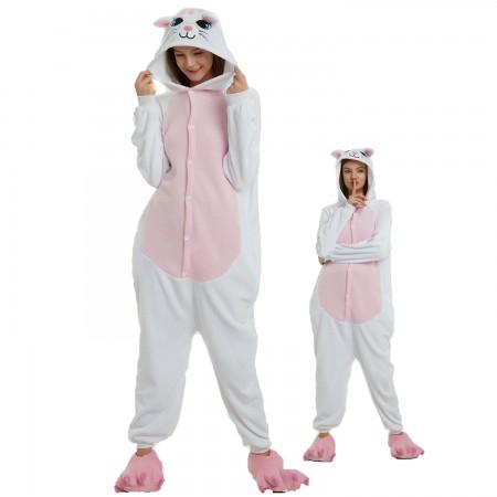 White Cat Costume Onesie for Women & Men Pajamas Halloween Outfit