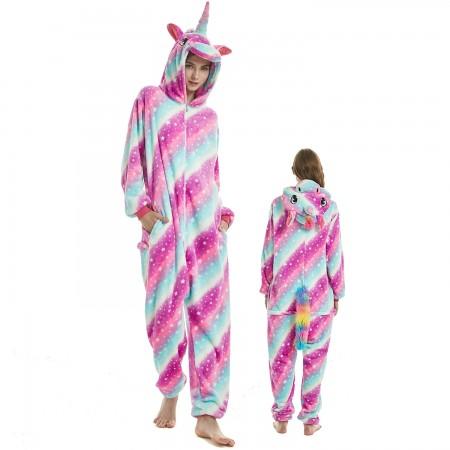 Purple Dream Unicorn Costume Onesie for Women & Men Pajamas Halloween Outfit