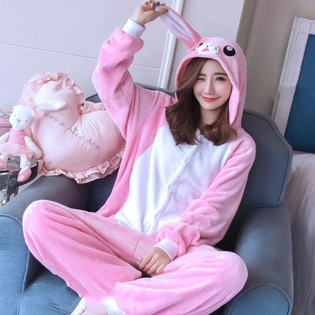 Pink Rabbit Onesie Costume Pajamas for Adults & Teens Halloween Outfit
