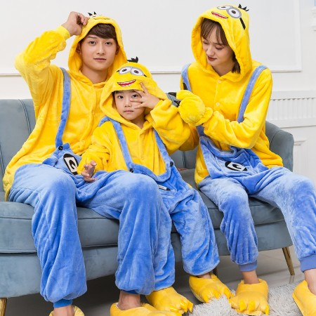 Minions Costume Family Matching Onesies for Women & Men Pajamas Halloween Outfit