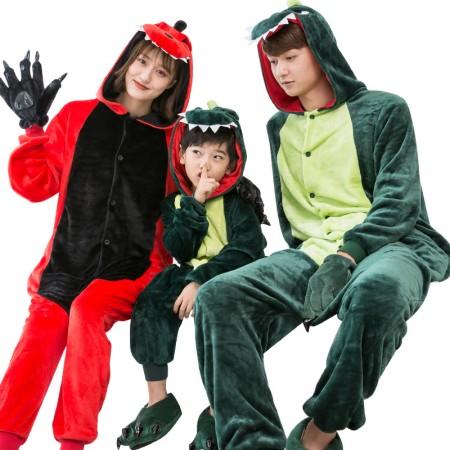Dinosaur Costume Family Matching Onesies for Women & Men Pajamas Halloween Outfit