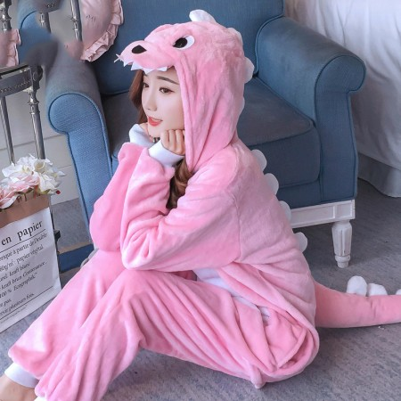 Pink Dinosaur Onesie Costume Pajamas for Adults & Teens Halloween Outfit