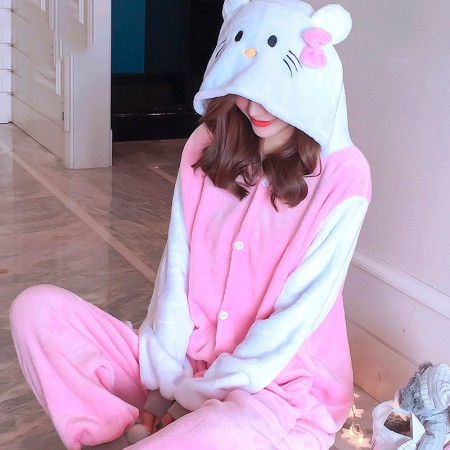 Pink Cat Onesie Costume Pajamas for Adults & Teens Halloween Outfit