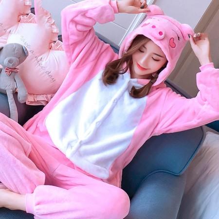 Pink Pig Costume Onesie Pajama For Adults & Teens Animal Onesies