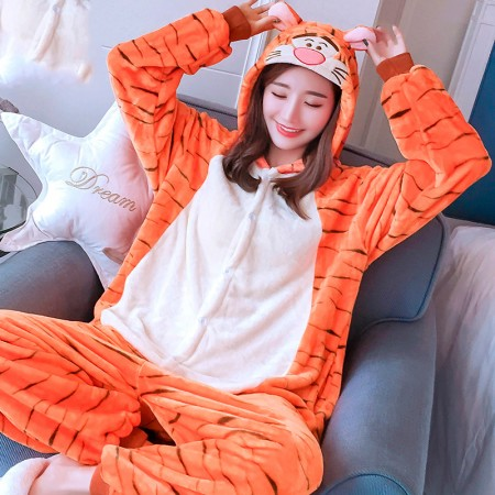 Tigger Onesie Costume Pajamas for Adults & Teens Halloween Outfit