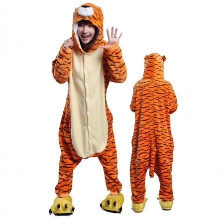 Tiger Costume Onesie Pajamas for Adults & Teens Halloween Outfit