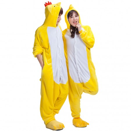 Yellow Chick Costume Onesie Pajamas for Adults & Teens Halloween Outfit