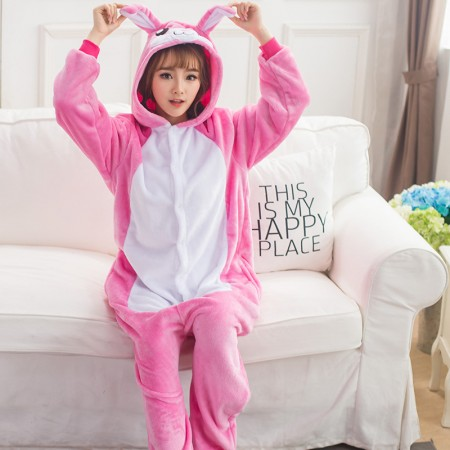 Pink Rabbit Bunny Onesie Costume Pajamas for Adults & Teens Halloween Outfit