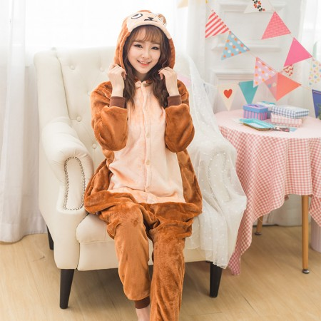 Monkey Onesie Costume Pajamas for Adults & Teens Halloween Outfit