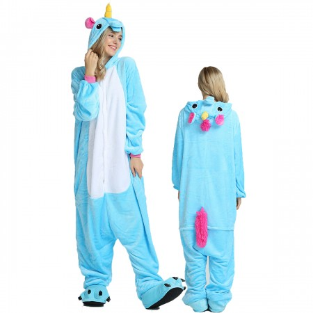 Women & Men Blue Unicorn Onesie Costume Onesies Pajamas for Halloween