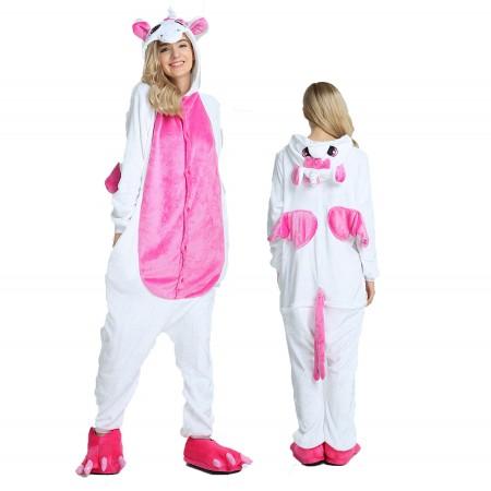 Women & Men Pink Unicorn with Wings Onesie Costume Onesies Pajamas for Halloween
