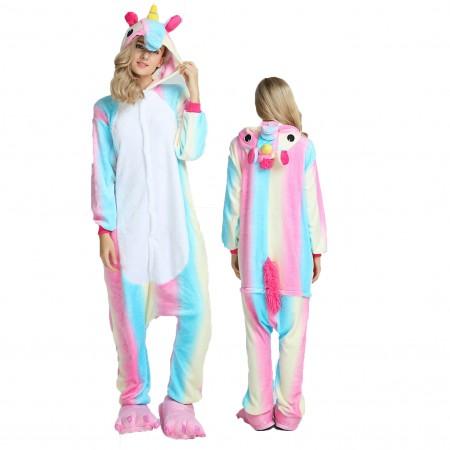Women & Men Blue Rainbow Onesie Costume Onesies Pajamas for Halloween