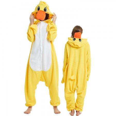 Yellow Duck Onesie Costume Pajama for Adult Women & Men Halloween Costumes