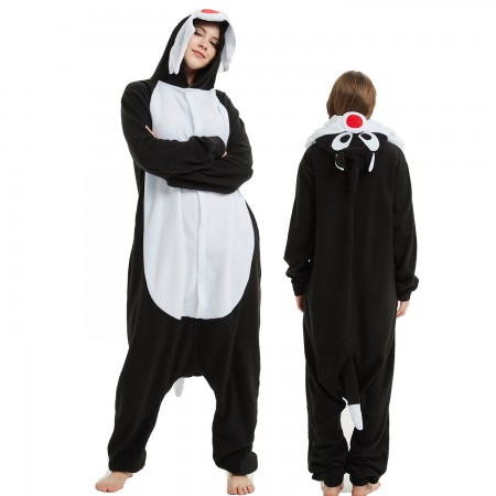 Black Wolf Onesie Costume Pajama for Adult Women & Men Halloween Costumes