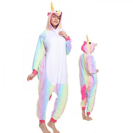 Rainbow Unicorn Onesie Costume Pajama for Adult Women & Men Halloween Costumes