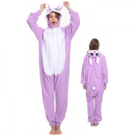 Purple Rabbit Onesie Costume Pajama for Adult Women & Men Halloween Costumes