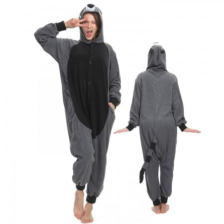 Grey Raccoon Onesie Costume Pajama for Adult Women & Men Halloween Costumes