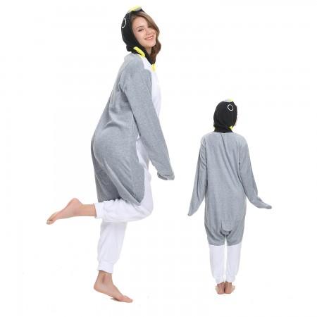 Grey Penguin Onesie Costume Pajama for Adult Women & Men Halloween Costumes