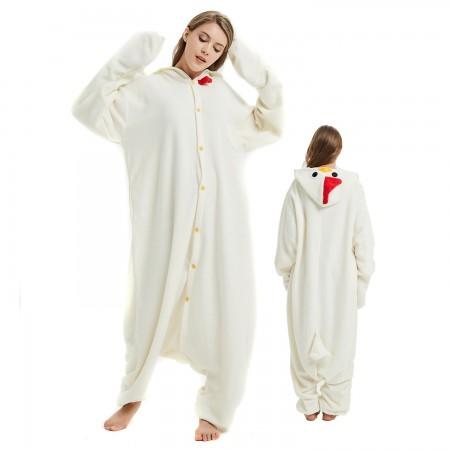 White Cock Onesie Costume Pajama for Adult Women & Men Halloween Costumes