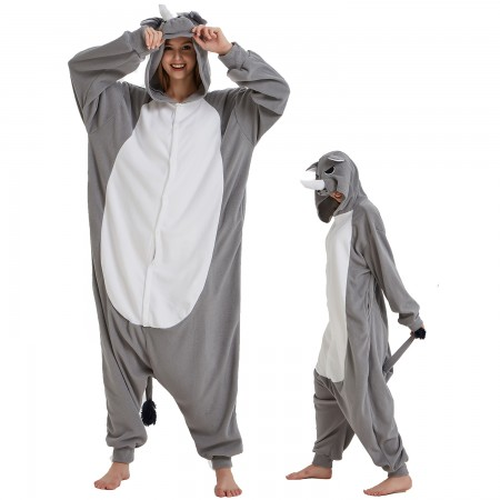 Rhinoceros Onesie Costume Pajama for Adult Women & Men Halloween Costumes