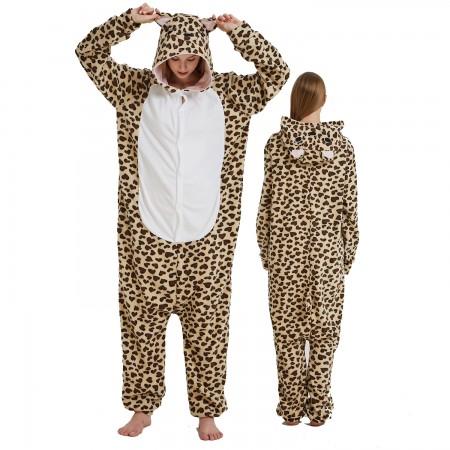 Leopard Bear Onesie Costume Pajama for Adult Women & Men Halloween Costumes