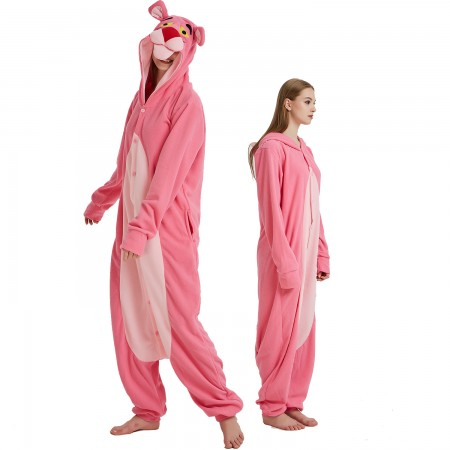 Pink Panther Onesie Costume Pajama for Adult Women & Men Halloween Costumes
