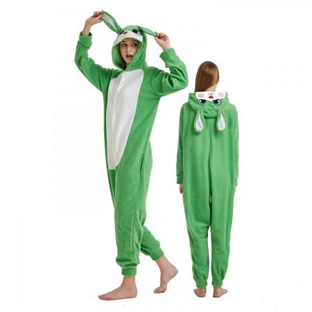 Green Rabbit Bunny Onesie Costume Pajama for Adult Women & Men Halloween Costumes