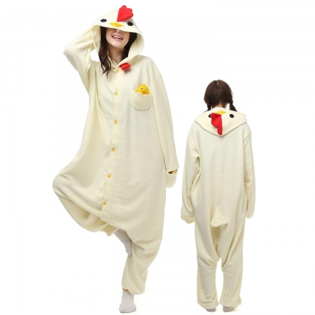 White Cock Costume Onesie Pajamas Adult Animal Onesie for Women & Men