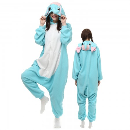 Blue Elephant Costume Onesie Pajamas Adult Animal Onesie for Women & Men