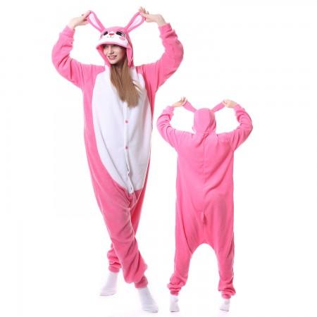 Pink Rabbit Costume Onesie Pajamas Adult Animal Onesie for Women & Men