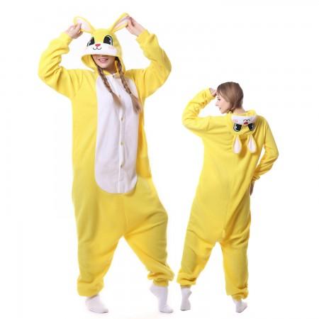 Yellow Rabbit Costume Onesie Pajamas Adult Animal Costumes for Women & Men