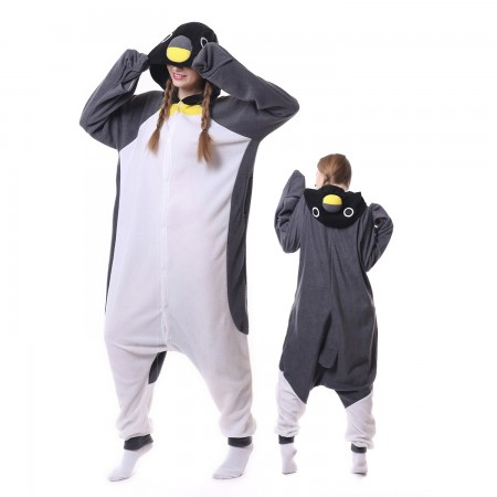 Grey Penguin Costume Onesie Pajamas Adult Animal Costumes for Women & Men