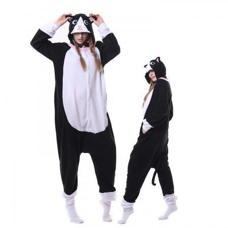 Black Cat Costume Onesie Pajamas Adult Animal Costumes for Women & Men
