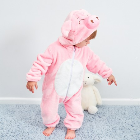 Pink Pig Onesie Pajama Toddler Animal Costume for Baby Infant