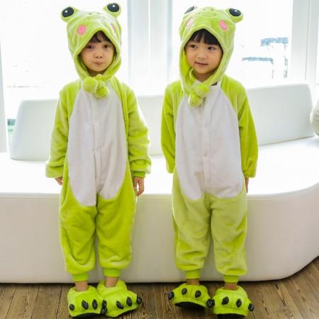 Kids Frog Onesie Costume Pajama for Boys & Girls With Hood