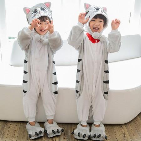 Kids Cheese Cat Onesie Costume Pajama for Boys & Girls With Hood