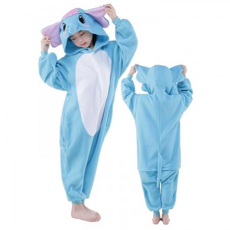 Blue Elephant Onesie Costume Pajama Kids Animal Outfit for Boys & Girls