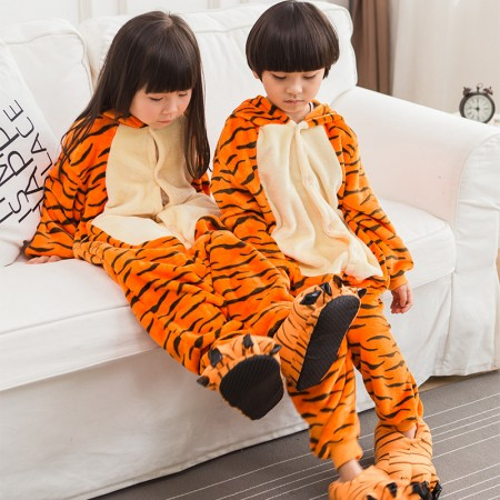 Kids Tigger Costume Onesie Pajama Animal Outfit for Boys & Girls