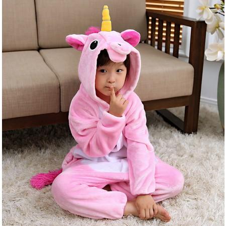 Kids Pink Unicorn Costume Onesie Pajama Animal Outfit for Boys & Girls